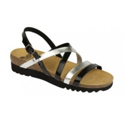 CALZATURA ALMA SANDAL SYNTHETIC PATENT WOMENS BLACK/SILVER 36