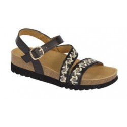 CALZATURA ADANNA SANDAL SYNTHETIC+EMBROIDERY WOMENS BLACK 37