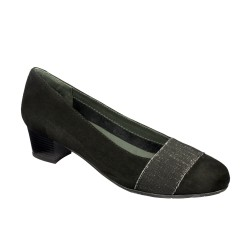 LALABEL SUEDE+ELASTIC WOMENS BLACK 38 MEMORY CUSHION MATERIALE