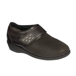 DELMA LEATHER + ELASTICATED WOMENS DK BROWN 38 MEMORY CUSHION MATERIALE TOMAIA PELLE+ELASTICIZZATO FODERA TOMAIA TESSUTO