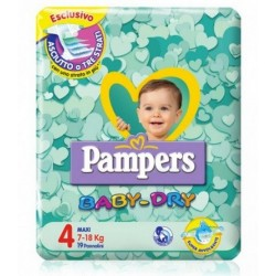 PANNOLINI PER BAMBINI PAMPERS BABY DRY DOWNCOUNT NO FLASH MAXI 19 PEZZI